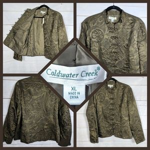 Coldwater Creek Green Floral Silk Mandarin Jacket